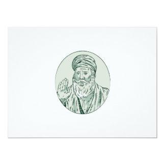 Sikh Guru Priest Waving Etching 6.5x8.75 Paper Invitation Card