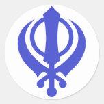 Sikh Khanda Blue Round Stickers