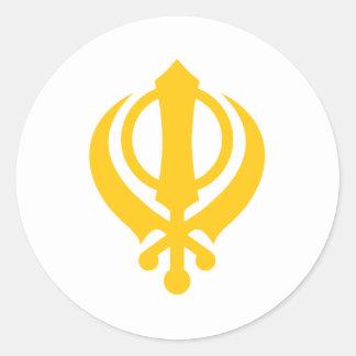 Sikh Khanda Gold Classic Round Sticker