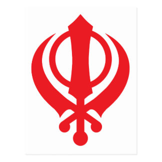 Sikh Khanda Red Postcard