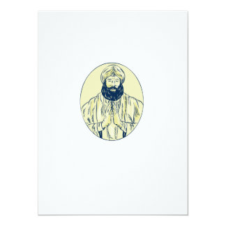 Sikh Priest Praying Front Oval Etching Card