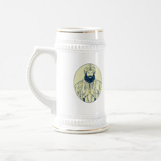 Sikh Priest Praying Front Oval Etching 18 Oz Beer Stein