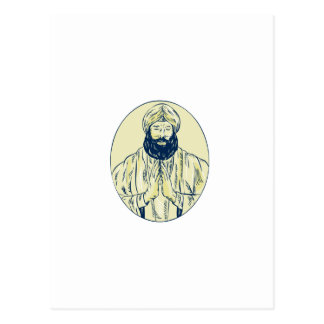 Sikh Priest Praying Front Oval Etching Postcard