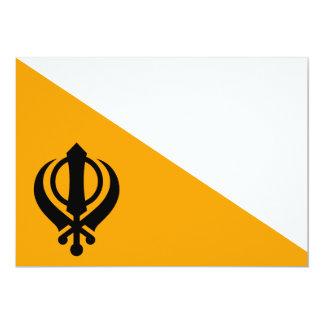 "Sikhism santo sikh Nishan Sahib de la bandera de Invitación 5"" X 7"""