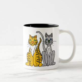 Silas & Salem Cartoon Cats Two-Tone Coffee Mug