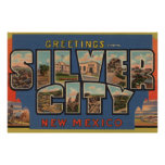 Silber City, New Mexico - Large Letter Scenes Print