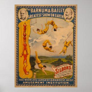 Silbons famoso Barnum y poster del circo de Bailey