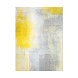 'Silence' Grey and Yellow Abstract Art Print Canvas Print