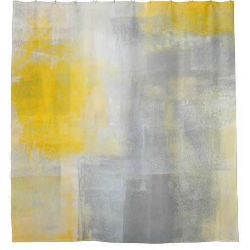 Silence Grey And Yellow Abstract Art Shower Curtain