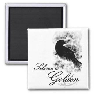 Silence is Golden - Black Bird Magnet