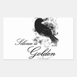 Silence is Golden - Black Bird Rectangular Stickers