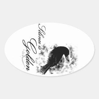 Silence is Golden - Black Bird Oval Stickers