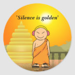 Silence is golden classic round sticker