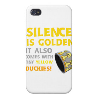 Silence Is Golden Rubber Ducky Duct Tape Humor Case For iPhone 4