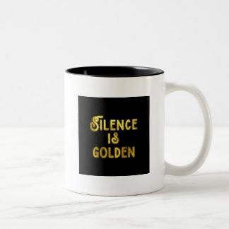 Silence is Golden Two-Tone Coffee Mug