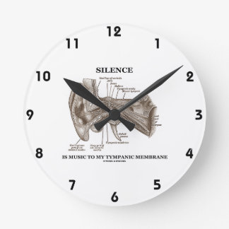 Silence Is Music To My Tympanic Membrane Ear Round Clock