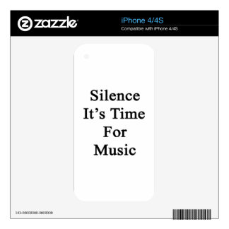 Silence It's Time For Music Skins For iPhone 4