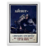 Silence Menans Security Be Careful What You Say Or Posters