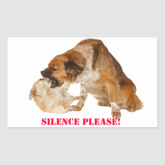 Silence please! rectangular sticker