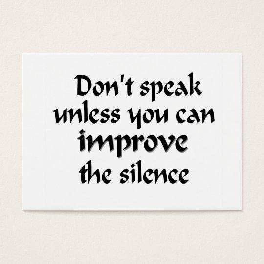 Silence welcome card