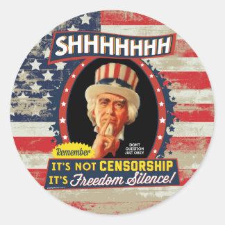 Silencio de la libertad etiqueta redonda