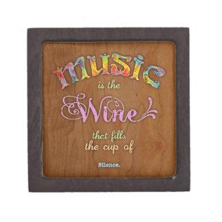 Silencio del vino de la música cajas de recuerdo de calidad