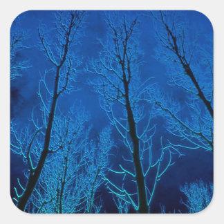 Silencio misterioso de los árboles pegatina cuadrada