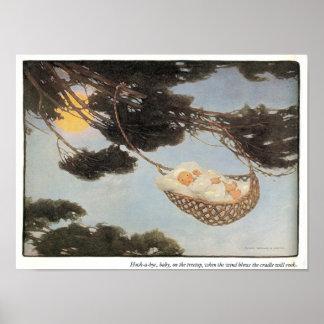 Silencio-uno-Adiós, impresión de la poesía infanti Póster