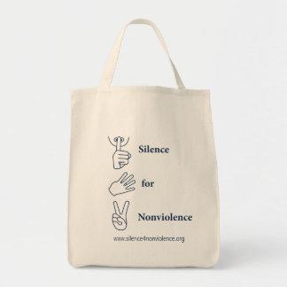 Silencio vertical para el bolso del Nonviolence Bolsa Tela Para La Compra