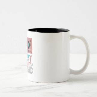 silent and listen a music Two-Tone coffee mug