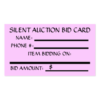 Auction business cards templates zazzle for Auction bid cards template
