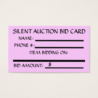 Silent Auction Bid Card