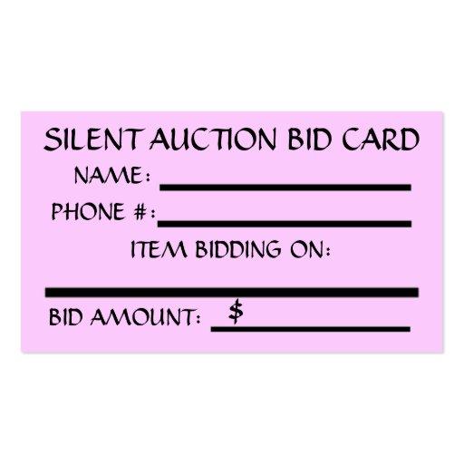 Silent Auction Bid Card Business Cards