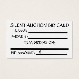 Silent Auction Bid Card (White)