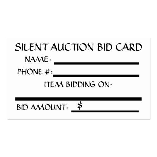 Silent Auction Bid Card (White) Business Card Template