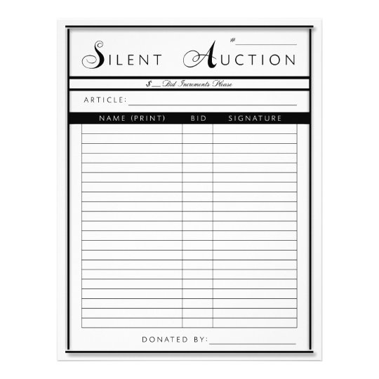 Silent auction form letter sized paper for Auction bid cards template