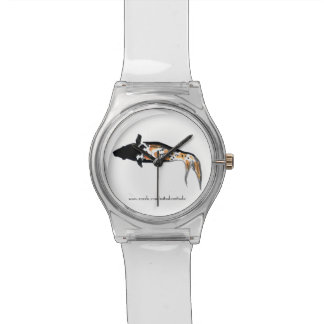 """""""Silent Black Koi"""" in Japanese Style Watercolor Wrist Watches"""