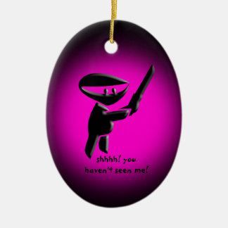 Silent black ninja assassin, armed and dangerous Double-Sided oval ceramic christmas ornament