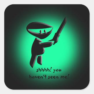 Silent black ninja assassin, armed and dangerous square sticker
