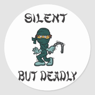 silent but deadly Ninja Fart Round Stickers