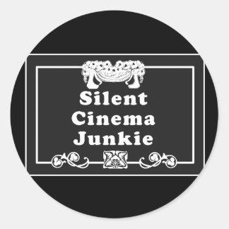 Silent Cinema Junkie Classic Round Sticker