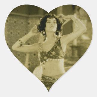 Silent Film Era Beauty Sterevoview Card Heart Sticker