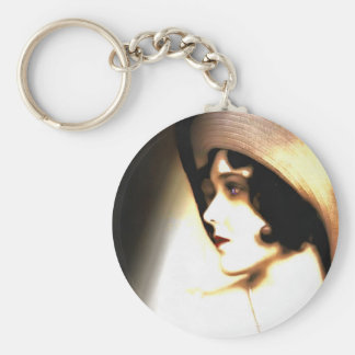 Silent Film Star Vintage 1920s Portrait Keychain