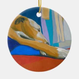 'Silent Longing' - Yellow lurcher Ceramic Ornament