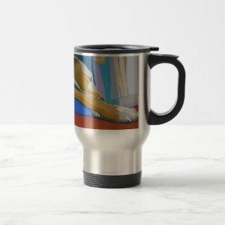 'Silent Longing' - Yellow lurcher Travel Mug