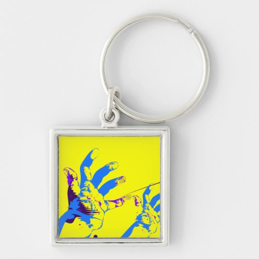 silent majority blue Silver-Colored square keychain