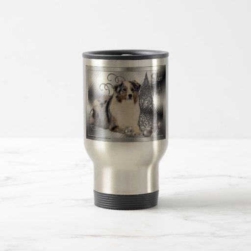 Silent Night - Australian Shepherd 15 Oz Stainless Steel Travel Mug