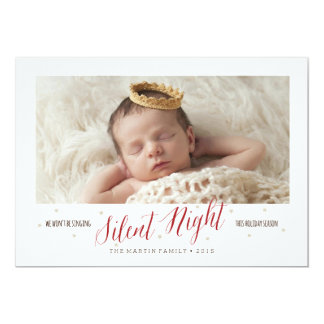 Silent Night Baby's First Christmas Holiday 5x7 Paper Invitation Card