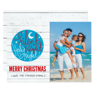 Silent Night Beach Photo Christmas Greeting Card
