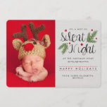 "Silent Night Birth Announcement Holiday Card<br><div class=""desc"">This adorable photo Christmas card is for the new parents! It reads &quot;It&#39;s a not so Silent Night&quot; and continues with your own personalized text. Holly berries, pine needles, and a rustic gray background. Perfect for showing off the new bundle of joy or celebrating baby&#39;s first Christmas. Template images must...</div>"